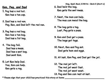 Sing, Spell, Read & Write Book 2 (short e) Story B resource