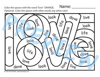Sight Word LOVE Worksheets & Song - Heidi Songs by ...