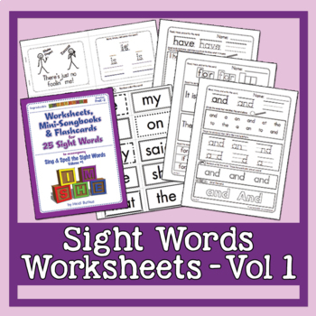 Sight Words Worksheets, Mini-Songbooks, and Flashcards Vol. 1