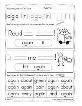 Sight Words Worksheets, Mini-Songbooks, and Flashcards Vol. 3