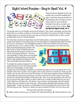 Sight Word Puzzles Vol. 4 - Heidi Songs
