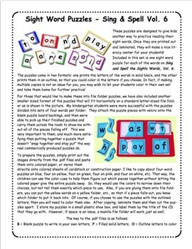 Sing & Spell Vol. 6 Sight Word Puzzles