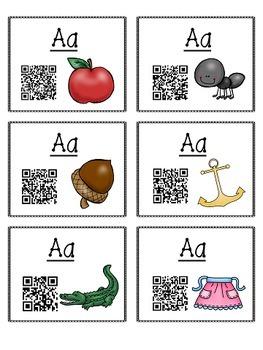 Alphabet Activities - QR Code Task Cards - Letter Sounds - A