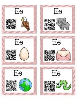 Alphabet Activities Letter Sound QR Code Task Cards the Letter E
