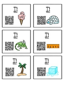 Alphabet Activities Letter Sound QR Code Task Cards the Letter I