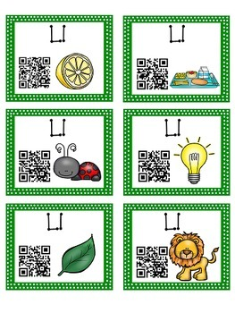 Alphabet Activities - QR Code Task Cards - Letter Sounds - L