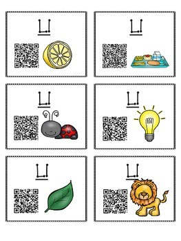 Alphabet Activities Letter Sound QR Code Task Cards the Letter L