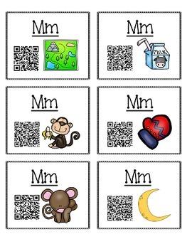 Alphabet Activities - QR Code Task Cards - Letter Sounds - M