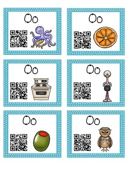 Alphabet Activities Letter Sound QR Code Task Cards the Letter O