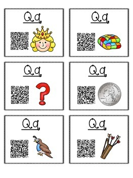 Alphabet Activities - QR Code Task Cards - Letter Sounds - Q