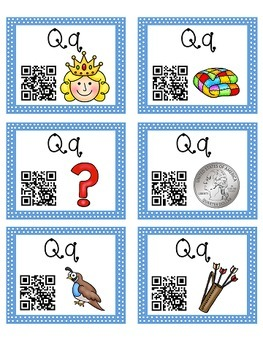 Alphabet Activities Letter Sound QR Code Task Cards the Letter Q