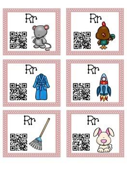 Alphabet Activities - QR Code Task Cards - Letter Sounds - R