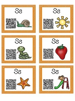 Alphabet Activities Letter Sound QR Code Task Cards the Letter S