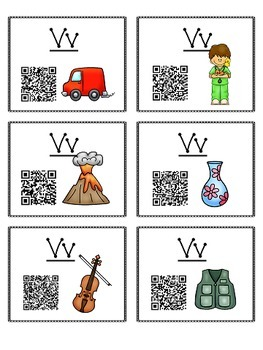 Alphabet Activities - QR Code Task Cards - Letter Sounds - V