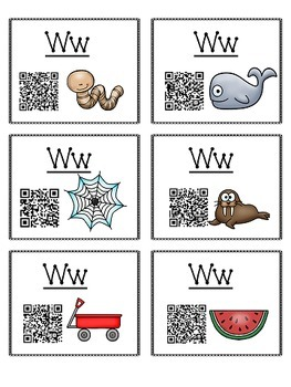 Alphabet Activities - QR Code Task Cards - Letter Sounds - W