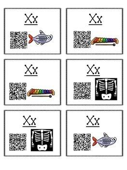 Alphabet Activities Letter Sound QR Code Task Cards the Letter X