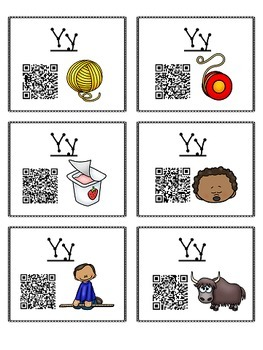 Alphabet Activities Letter Sound QR Code Task Cards the Letter Y