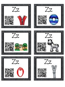 Alphabet Activities - QR Code Task Cards - Letter Sounds - Z