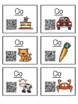 Alphabet Activities Letter Sound QR Code Task Cards the Letter C
