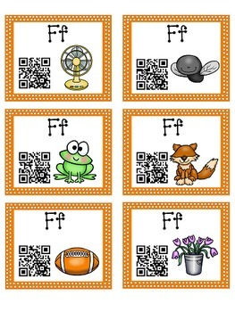 Alphabet Activities - QR Code Task Cards - Letter Sounds - F