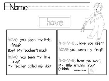 Sing With Me Sight Words- Free Samples