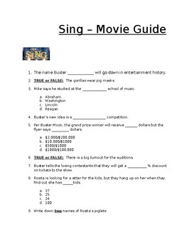 Sing, the Movie -- Movie Guide