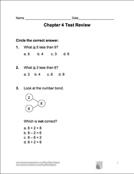 Singapore 1st Grade Chapter 4 Math Test Review (7 pages)