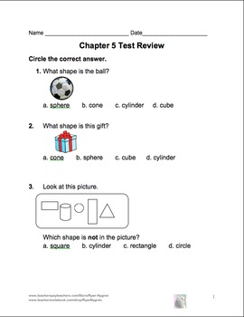 Singapore 1st Grade Chapter 5 Math Test Review (7 pages)