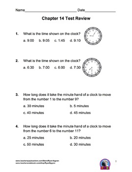 Singapore 2nd Grade Chapter 14 Math Test Review (7 pages)