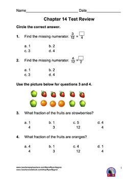 Singapore 3rd Grade Chapter 14 Math Test Review (7 pages)