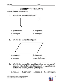 Singapore 3rd Grade Chapter 18 Math Test Review (6 pages)