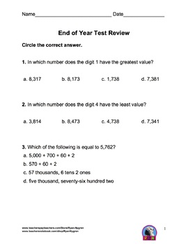 Singapore 3rd Grade End of Year Test Review (31 pages)