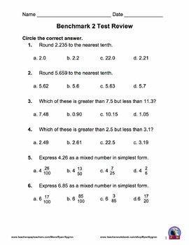 Singapore 5th Grade Benchmark Assessment 2 Math Test Review (13 pages)