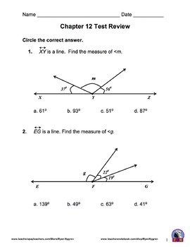 Singapore 5th Grade Chapter 12 Math Test Review (12 pages)