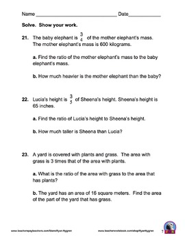 Singapore 5th Grade Chapter 7 Math Test Review (8 pages)