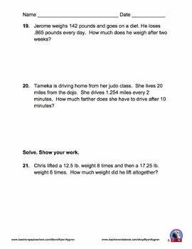 Singapore 5th Grade Chapter 9 Math Test Review (7 pages)