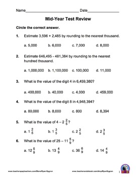 Singapore 5th Grade Mid Year Math Test Review (13 pages)
