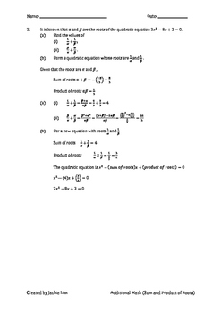Singapore Additional Math for O-Level (Sum & Product of Roots)