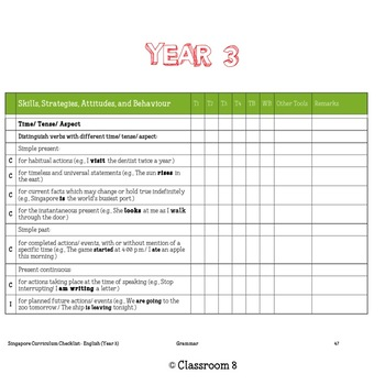 Singapore English Curriculum Checklist - Year 3
