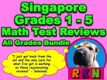 Singapore Grades 1 - 5 Math Test Reviews Mega Bundle