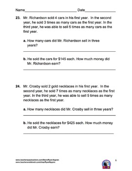 Singapore 4th Grade Chapter 3 Math Test Review (6 pages)