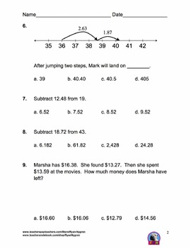 Singapore 4th Grade Chapter 8 Math Test Review (7 pages)