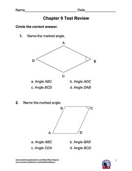 Singapore 4th Grade Chapter 9 Math Test Review (8 pages)