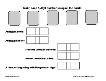 Ch1 Singapore Math 4th Gr Write and Wipe Templates, Place Value of Whole Numbers