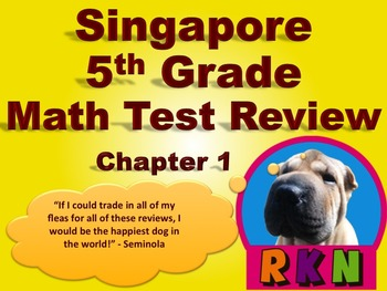 Singapore 5th Grade Chapter 1 Math Test Review (6 pages)