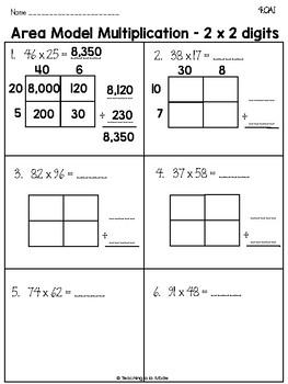 Singapore Math Area Model Multiplication by Teaching a la ...