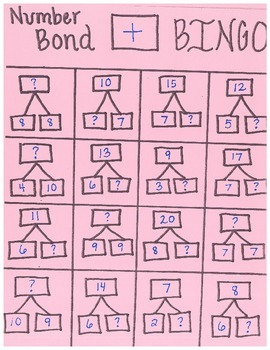 Number Bond Addition Bingo Cards
