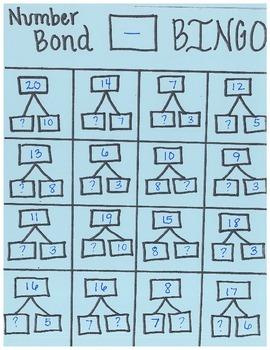Number Bond Subtraction Bingo Cards