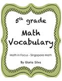 Singapore Math Vocabulary & Definitions - 5th grade