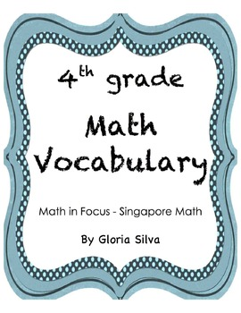 Singapore Math Vocabulary & Definitions - 4th grade